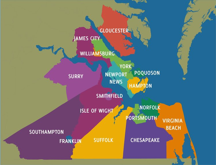 Hampton Roads Map illustrating the borders of the 17 Cities and Counties of the 757 (c/o Envisioning 2020)