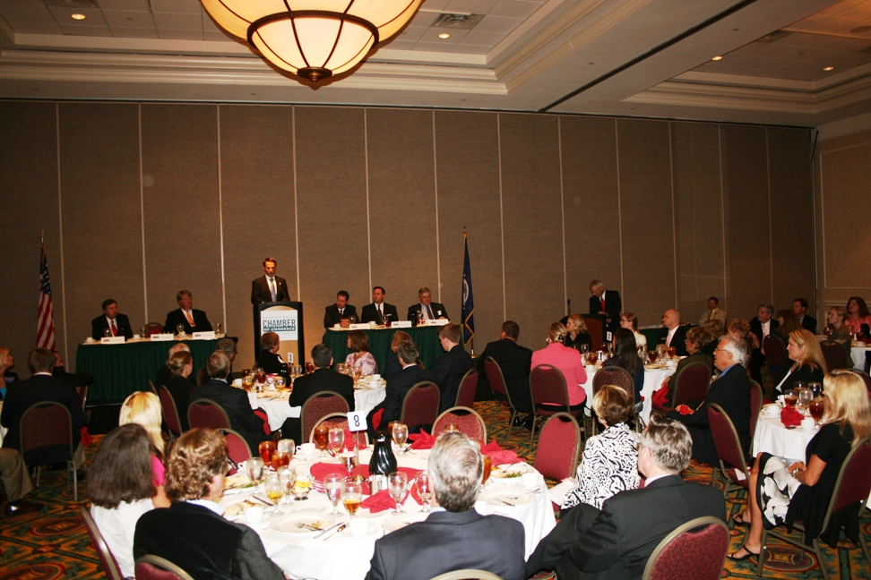 Nearly 100 people attended the 2nd District U.S. Congressional Candidates Forum hosted by the Chamber