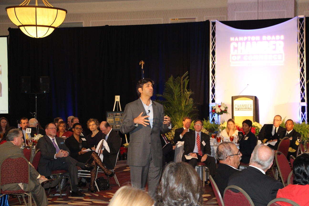 Aneesh Chopra addresses a crowd of nearly 500 at the Chamber's Annual Meeting of the Membership