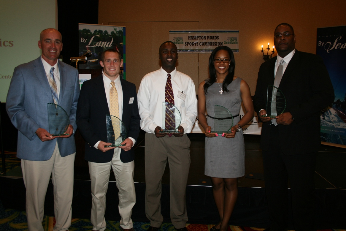 Award winners (from left) ODU Football Coach Bobby Wilder (accepting on behalf of Taylor Heinicke); Evan Moog; Terrence Palmer; Keiara Avant; and Norfolk State Basketball Interim Head Coach Robert Jones (accepting on behalf of Pendarvis Williams)