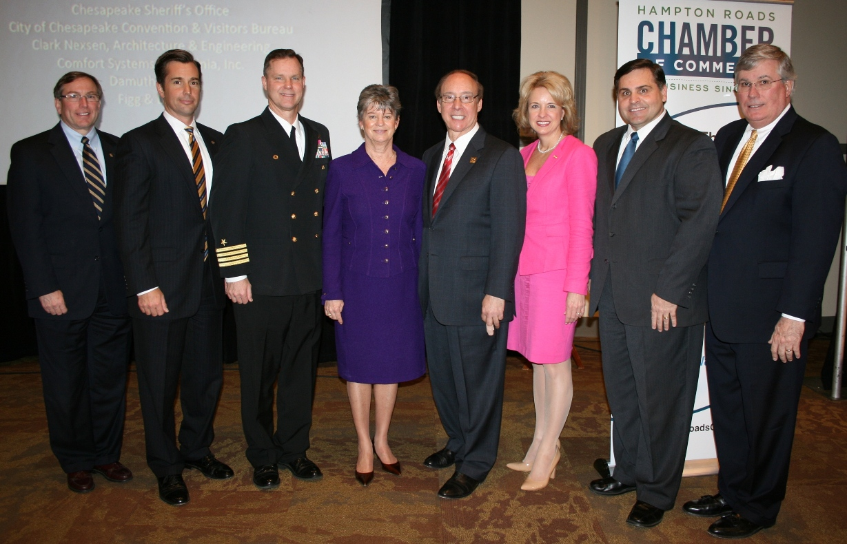 (from left) Michael Kerner of Bon Secours of Virginia Health System; Patrick Reynolds, Chair of the Chamber's Chesapeake Divsion; Capt. Robert Geis, Commanding Officer of NAS Oceana/NALF Fentress; Deborah Stearns, Chamber Chair; Mayor Alan Krasnoff; Dawn Glynn of TowneBank; Reverand Tim Lambert; and Jack Hornbeck, President & CEO of the Chamber