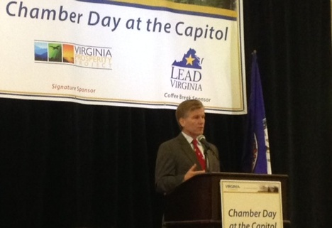 Governor Bob McDonnell speaks to group at Chamber Day