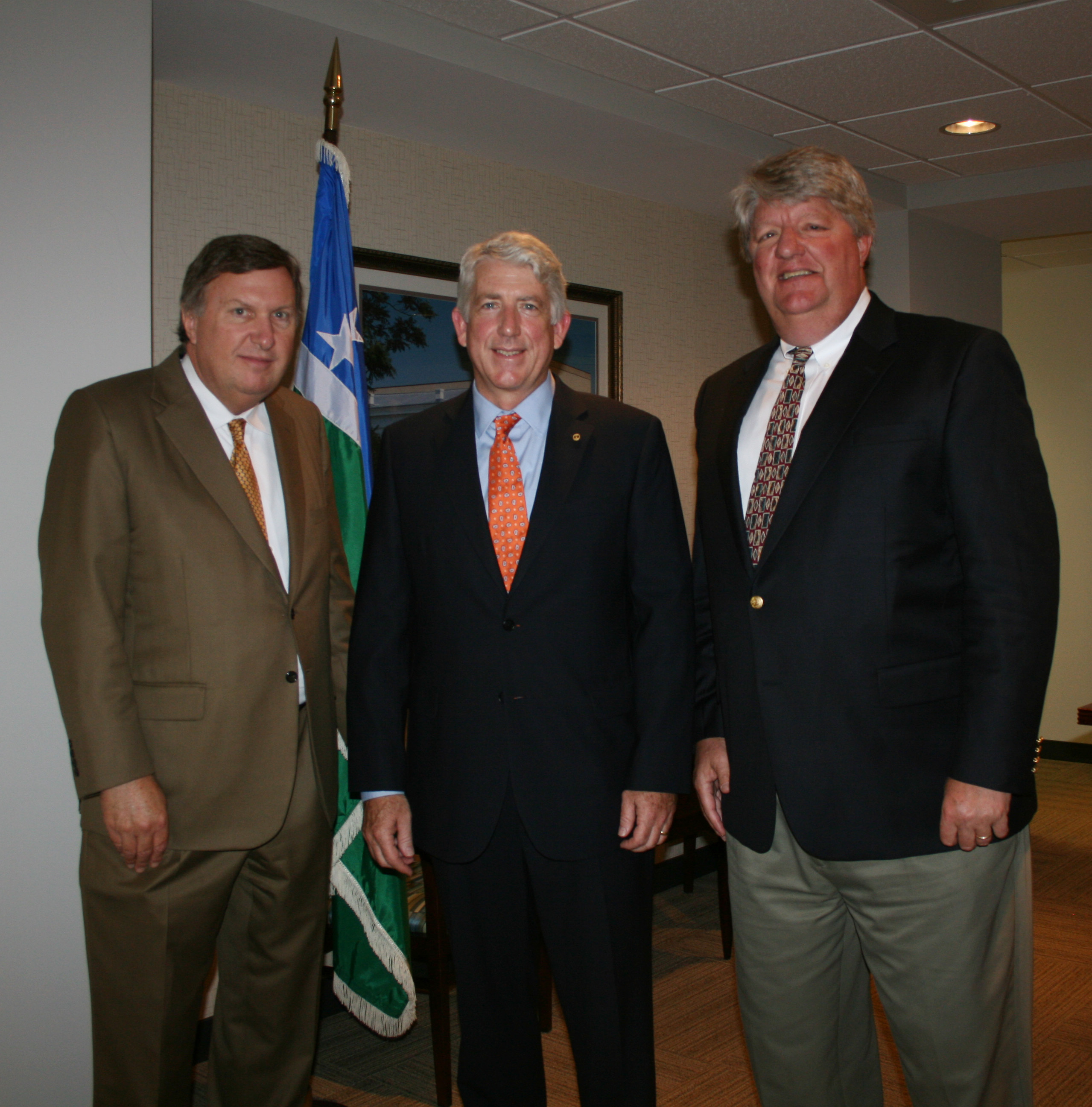 (from left) Chamber Sr. Vice President of Governmental Affairs Ira Agricola; Senator Mark Herring; and Chair of the Chamber's HRBizPAC Shep Miller