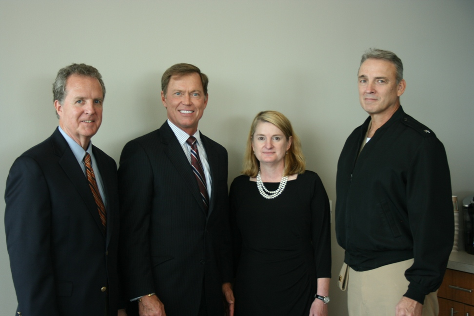 (from left) Hampton Roads Chamber Chair Michael Dudley; President & CEO Bryan K. Stephens; Secretary Molly Ward; and RDML Rick Williamson, USN