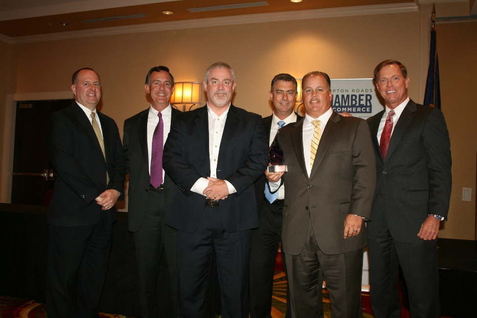 (from left) Taylor Harrell with Southern Bank & Trust; Jeff Richardson, Chamber's Vice Chair of Small Business; James Ashmore, Vice President of Endurance IT Services; the 2013 Small Business of the Year recipient Martin Joseph of 360 IT Services; Black White, president of Endurance IT Services; and Bryan K. Stephens, Chamber President & CEO