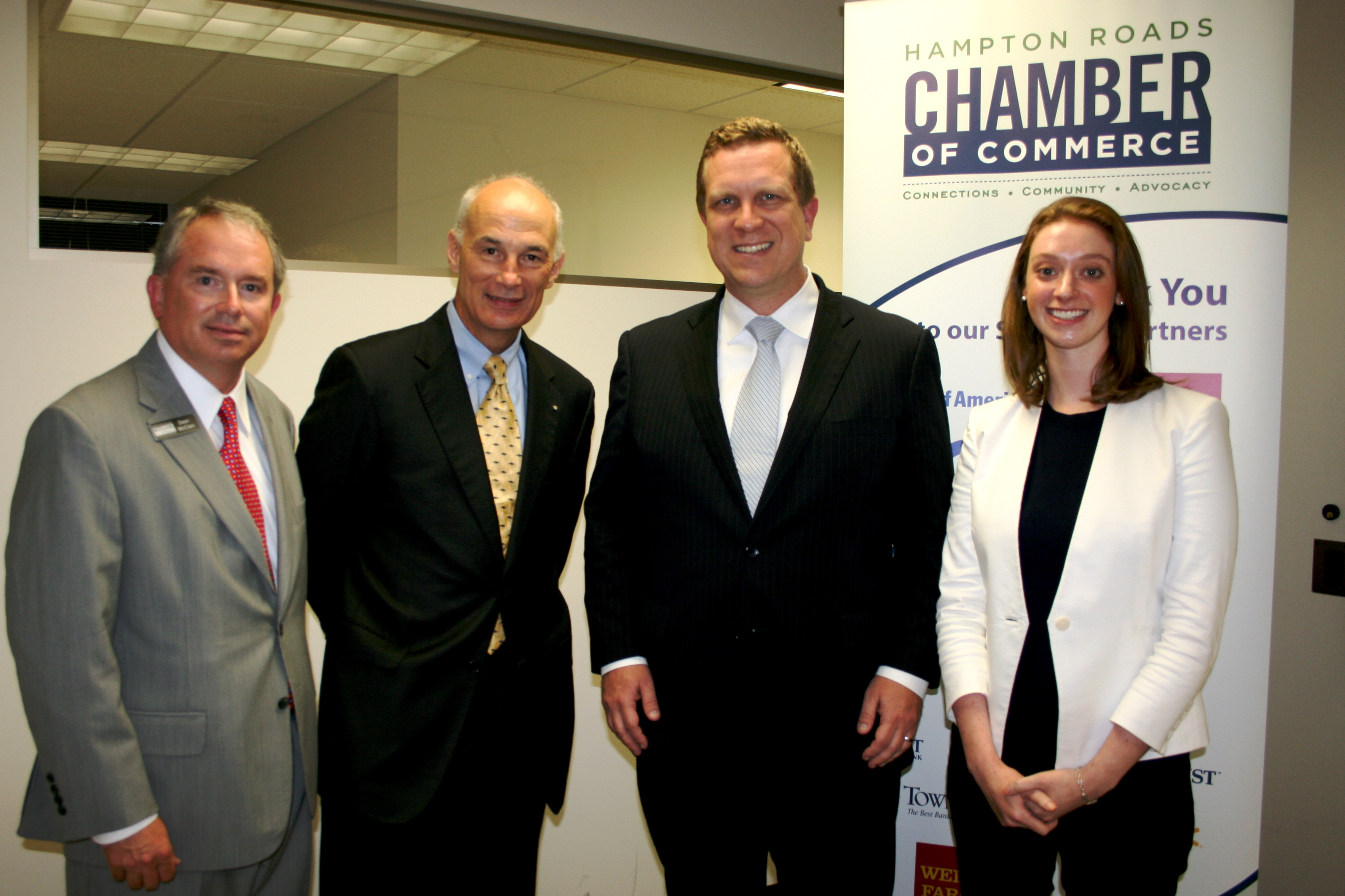 (from left) Dean McClain, Municipal Affairs Director, Hampton Roads Chamber of Commerce, Bill Holloran, Chair, Hampton Roads Political Action Committee, David Danielson, Assistant Secretary for Energy Efficiency and Renewable Energy, U.S. Department of Energy and Rachel Harvey, Press Secretary, Business Forward