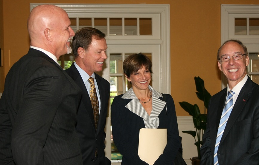 (from left) Dr. Paul Bonicelli, Executive VP, Regent University; Bryan K. Stephens, President & CEO, Hampton Roads Chamber of Commerce, Helen Dragas, President & CEO, The Dragas Companies and Honorable Alan Krasnoff, Mayor of Chesapeake