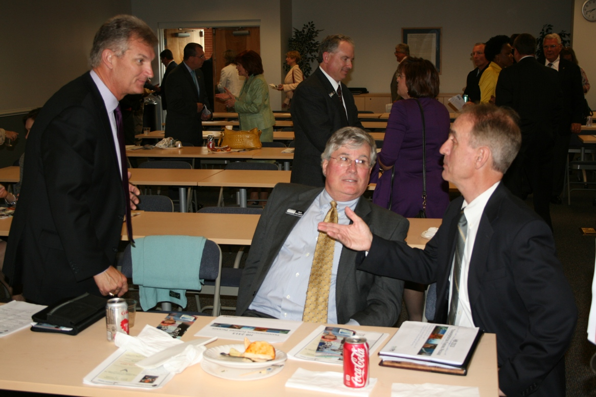 (from left) Aubrey Layne, Hampton Roads Chamber President & CEO Jack Hornbeck, and Dwight Farmer