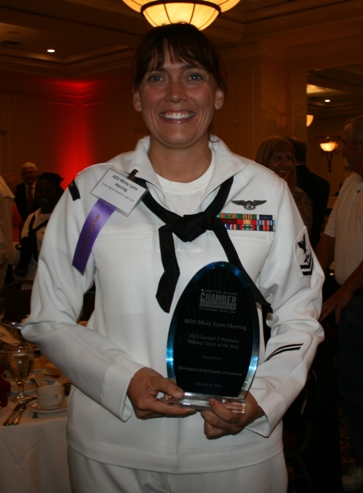 AD2 Misty Herring receives the 2013 MCOY award