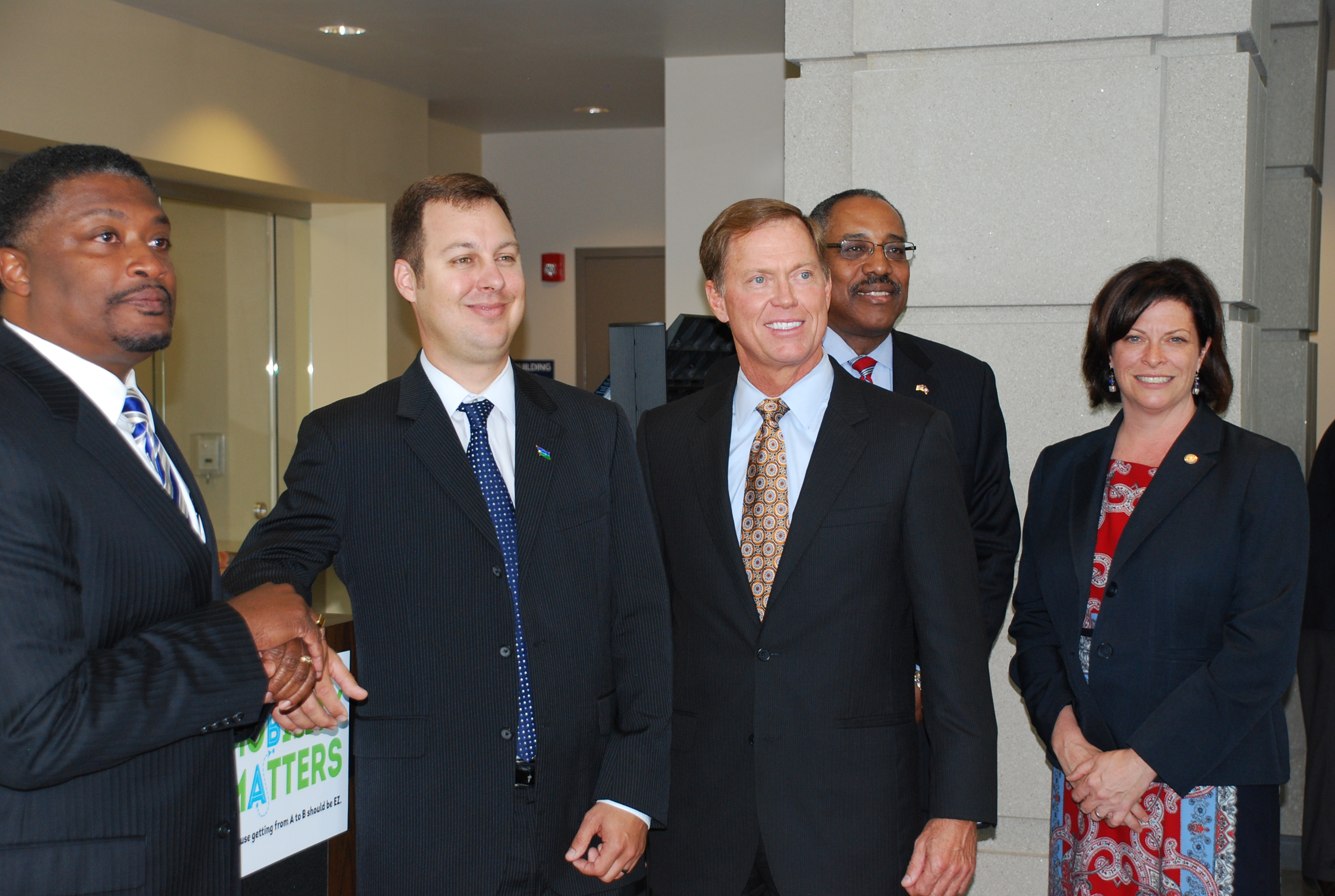 (from left) William Harrell; Robbyn Gayer; Bryan K. Stephens; Del. Matthew James; and Jennifer Mitchell, Director of the Virginia Department of Rail and Public Transportation.  Photo courtesy of Reynolds Huthchins/Inside Business