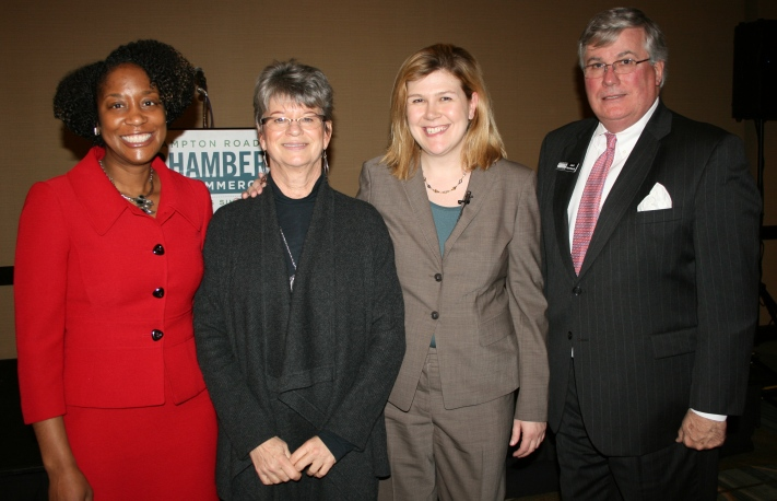 (from left) Karen Price-Ward of Southwest Airlines; Deborah Stearns, Chair of the Chamber; Courtney Lynch; and Jack Hornbeck, President & CEO of the Chamber