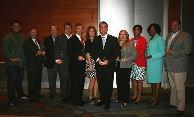 (from left) Zack Miller of Hatch (Impressions in Print Leadership Award); Jimmy Strickland and Stephen Jones of Strickland & Jones, PC (Norfolk Small Business of the Year); Brad Scott of Cetan Corp. (Young Entrepreneur Award); Tom and Terri Richards of Triquetra Technologies (Peninsula Small Business of the Year); Martin Joseph of 360IT PARTNERS (Virginia Beach Small Business of the Year and regional winner); Becky Reed of Reed Integration, Inc. (Suffolk Small Business of the Year); Tracey Davis and Barbara Willis of Hampton Roads Community Health Center (Portsmouth Small Business of the Year); and Stephen Elgin of Personal Touch Services, Inc. (Chesapeake Small Business of the Year)