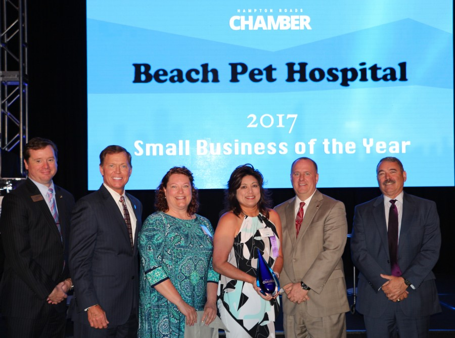 (Pictured here: Drew Lumpkin Regional Director with US Senator Mark Warner; Bryan Stephens, CEO & President of the Hampton Roads Chamber; Dr. Elizabeth Upchurch and Christina Sims of Beach Pet Hospital; Taylor Harrell, President Southern Bank & Trust Company; and Mike Herron, Publisher, Inside Business.)