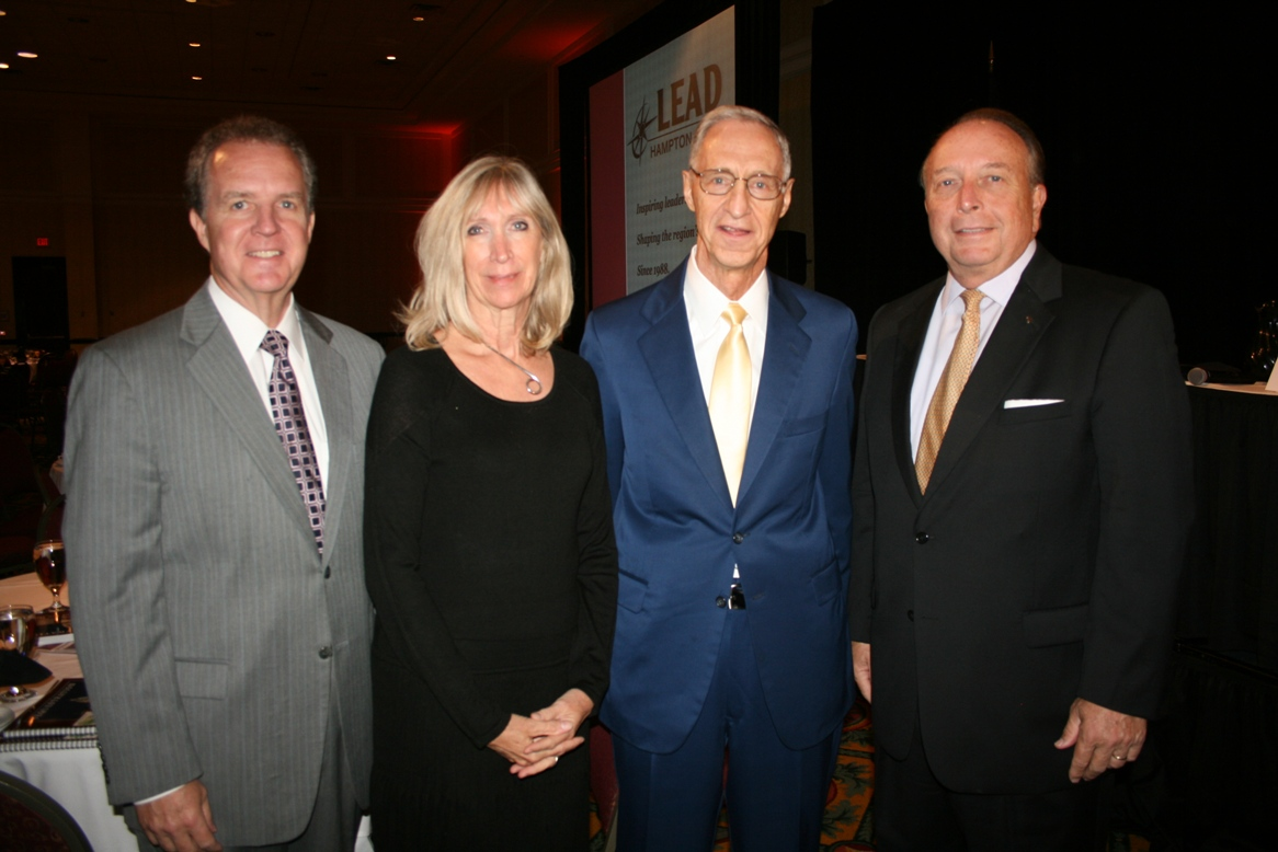 (from left) Michael Dudley, Optima Health; Angela Blackwell Carter, Hampton Roads Chamber; Dr. James Koch; and Thom Prevette, Bon Secours Hampton Roads