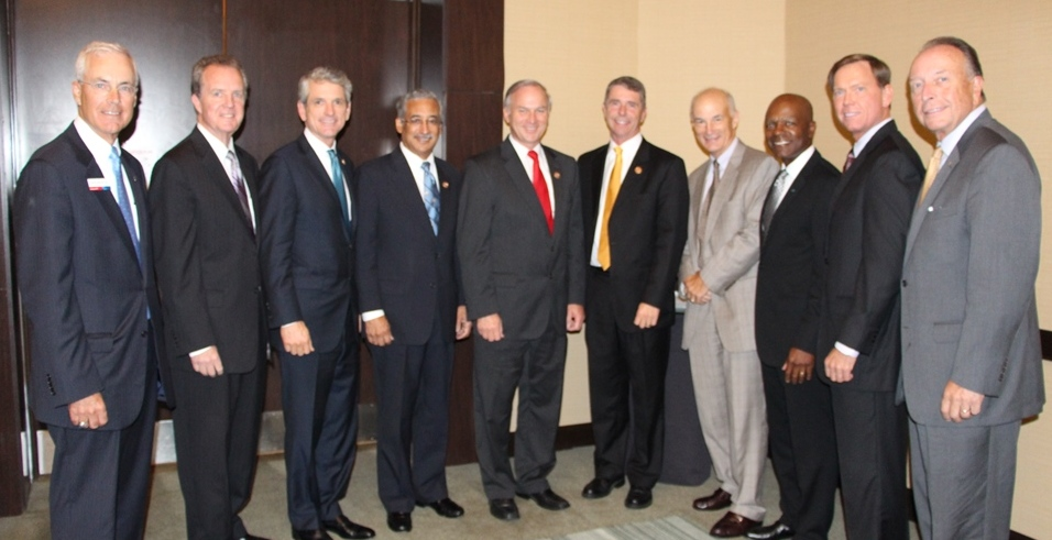 (from left) Charlie Henderson, Bank of America; Michael Dudley, Optima Health, Chair of the Chamber; Congressman Scott Rigell; Congressman Bobby Scott; Congressman Randy Forbes; Congressman Rob Wittman; Bill Holloran, DZ Atlantic Inc., HRBizPAC Chair; Gary McCollum, Cox Communications; Bryan K. Stephens, Chamber President & CEO; Thom Prevette, Bon Secours Health System Hampton Roads