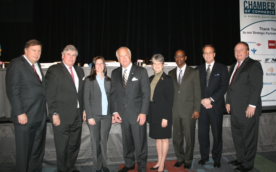 (from left) Ira Agricola, Sr. Vice President for the Chamber; Jack Hornbeck, President & CEO of the Chamber; Cathie France, Chair of the Chamber's Virginia Beach Division; Mayor William Sessoms; Deborah Stearns, Chair of the Chamber; Reverand Michael Daniels; William Foster, III of TowneBank; and Thom Prevette of Bon Secours Virginia Health System