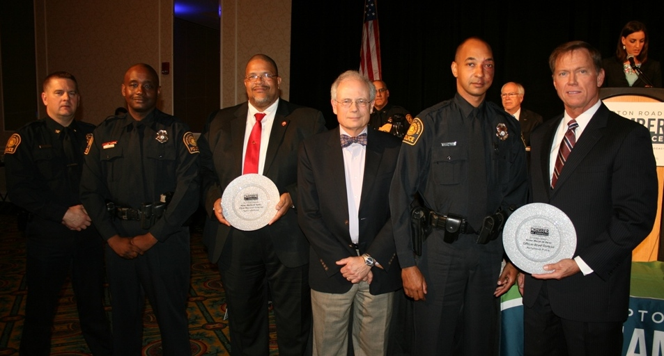 (from left) Portsmouth Police Chief Edward Hargis; Silver Medal of Valor recipient Portsmouth Police Officer Raymond Anderson; Portsmouth Mayor Kenneth Wright; Dr. Scott Miller, Sentara Leigh Hospital, and Medal of Valor Sponsor; Silver Medal of Valor recipient Portsmouth Police Officer Brad Dotson; and Chamber President & CEO Bryan K. Stephens