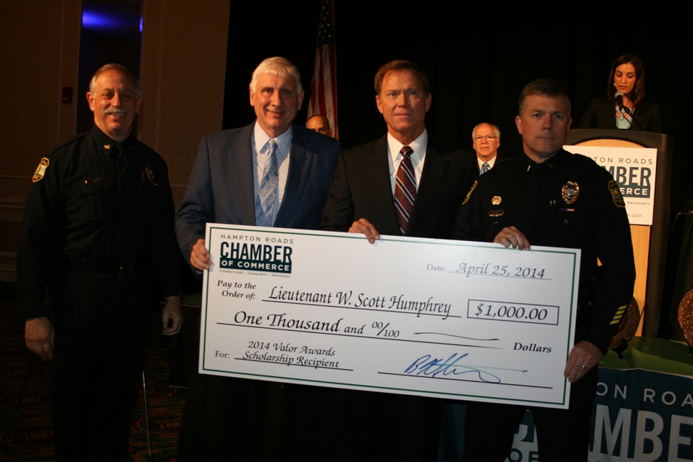 (from left) Virginia Beach Police Chief Jim Cervera; Virginia Beach Councilman Bob Dyer; Chamber President & CEO Bryan K. Stephens and scholarship recipient Virginia Beach Lieutenant W. Scott Humphrey