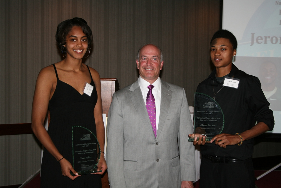 (from left) Award recipient Shae Kelley of ODU; John Wilson, HRSC Chair; award recipient Alyssa Bennett of Hampton University