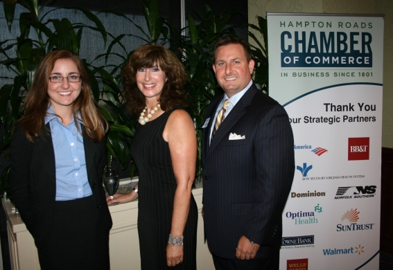 (from left) Erica Dowell, Joanne Grossi and Mike Fowler, Chair of the Chamber's Norfolk Division