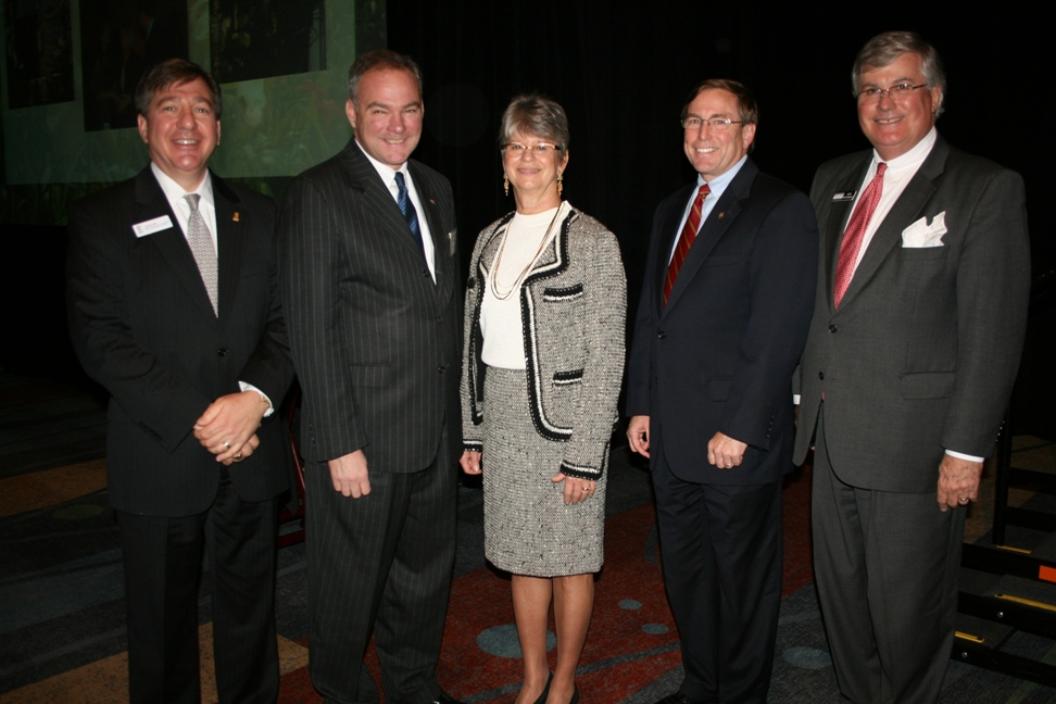 (from left) Joe Witt, Old Point National Bank; Senator-elect Tim Kaine; Chamber Chair Deborah Stearns; Michael Kerner of Bon Secours Hampton Roads Health System; and Chamber President & CEO Jack Hornbeck