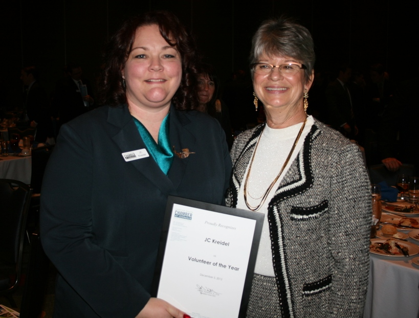 (from left) JC Kreidel, 2012 Volunteer of the Year, and Chamber Chair Deborah Stearns