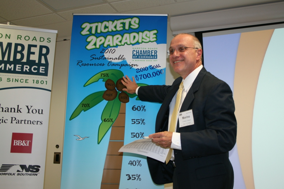 The 2010 SRC reached 100%.  On September 29, SRC Chair Marino Santarelli of Wachovia, A Wells Fargo Company, puts the final coconut on the campaign thermometer