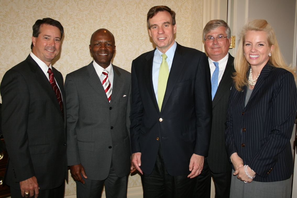 (from left) Nelson Adcock (GeoEnvironmental Resources, Inc.) Chamber's Chair; Gary McCollum, Sr. VP and General Mgr., Cox Communications; Senator Mark Warner; Jack Hornbeck, CCE, Chamber's President & CEO; and Kathryn Falk, VP, Public & Government Affairs, Cox Communications