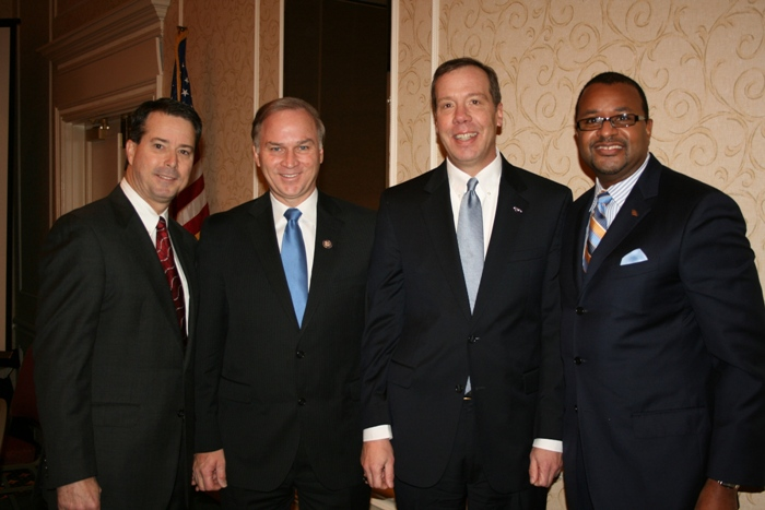 (from left) Nelson Adcock, Chamber Chairman; Congressman Randy Forbes; Peter Schleck, Senior Vice President & Senior Client Manager, Bank of America; and Victor Branch, Senior Vice President, Virginia Market Manager, Bank of America