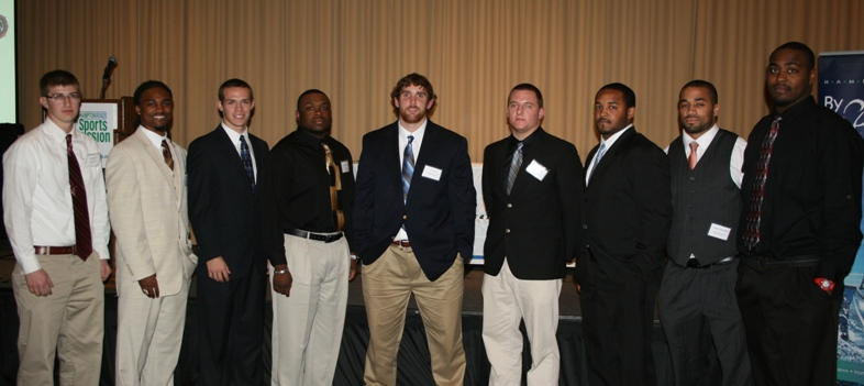 Nominees for the Offensive and Defensive Players of the Year.  (from left) Blake Penix (Apprentice School); B.W. Webb (College of William & Mary); Taylor Heinicke (Old Dominion University); Larry Peterson (Apprentice School); J.T. Crews (Christopher Newport University); Michael King (Christopher Newport University); Delbert Tyler (Hampton University); Corwin Hammond (Norfolk State University); and David Legree (Hampton University).  (Not pictured) Ronnie Cameron (Old Dominion University); Jonathan Grimes (College of William & Mary); and Chris Walley (Norfolk State University).  Ronnie Cameron was awarded the Defensive Player of the Year and Jonathan Grimes was awarded the Offensive Player of the Year.