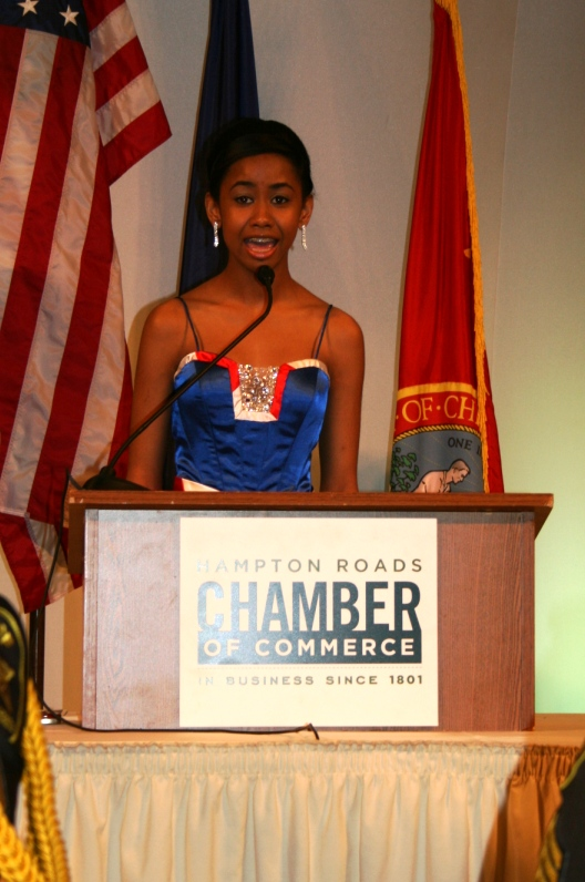 Andolyn Medina, Miss Virginia's Outstanding Preteen 2008, sang the national anthem