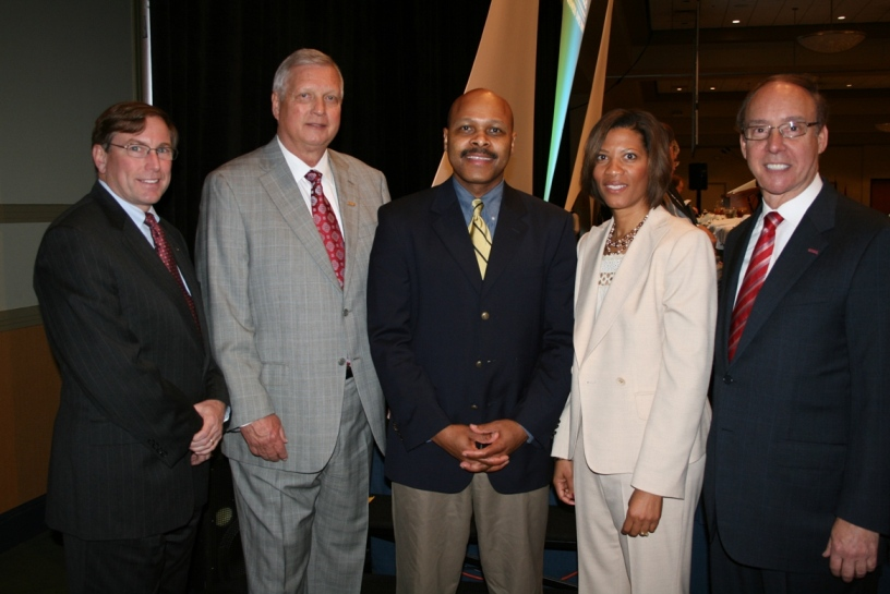 (from left) Michael Kerner, CEO, Bon Secours Hampton Roads; Robert Jones, Chairman, TowneBank Chesapeake Board; Maurice Jones, President, Pilot Media, Chair-Elect of the Chamber; Shepelle Watkins-White, ShepelleWatkinsWhite Consulting & Law, PLLC, Chair, Chamber's Chesapeake Division; and Mayor Alan Krasnoff