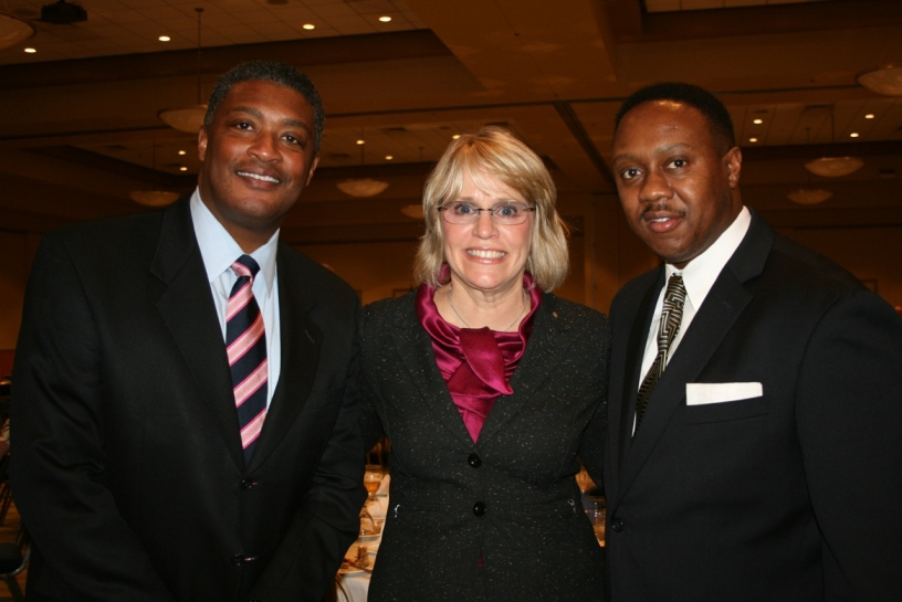 (from left) William E. Harrell, Chesapeake City Manager; Suzy Kelly, Chesapeake City Council Member and CEO of Jo-Kell Inc.; and Steven Wright, Chesapeake Director of Economic Development
