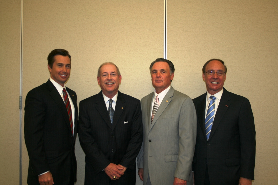 (from left) Mr. Patrick Reynolds, Chair, Chesapeake Divison of the Chamber; Mr. Max Bartholomew, Senior Manager, External Affairs, Dominion Virginia Power; Dr. James Roberts, Superintendent of Chesapeake Public Schools and Dr. Alan P. Krasnoff, Mayor, City of Chesapeake
