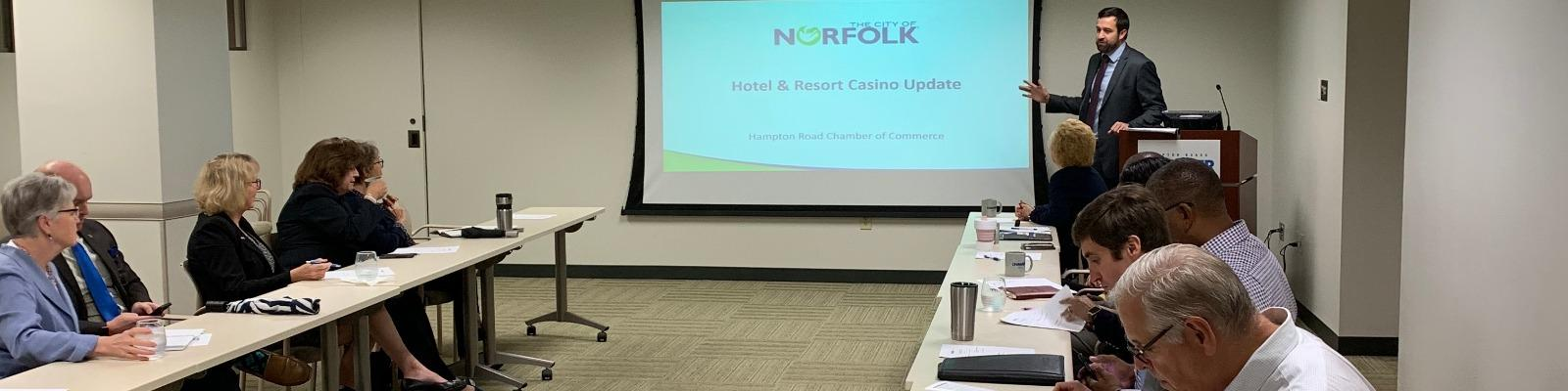 Jared Chalk, Interim Director of Economic Development for the City of Norfolk, providing a presentation on the Pamunkey Resort & Casino project. Cover