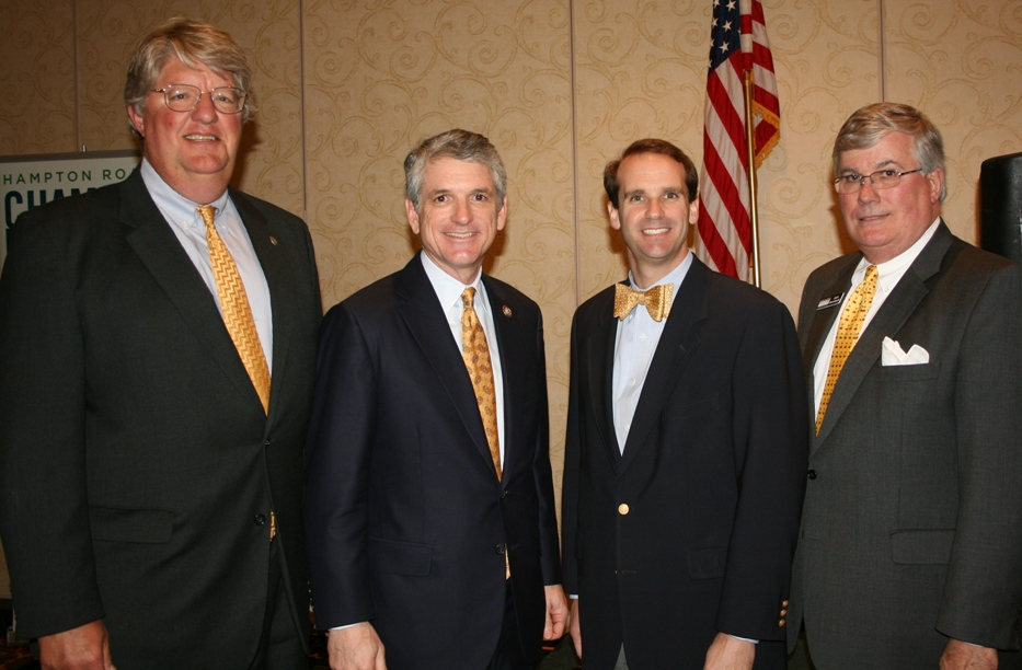 (from left) Shep Miller (KITCO Fiber Optics), Chair, Hampton Roads Business Political Action Committee; Congressman Scott Rigell; Moore Hallmark, Southeastern Regional Director, US Chamber of Commerce; and Jack Hornbeck, CCE, President & CEO, Hampton Roads Chamber of Commerce