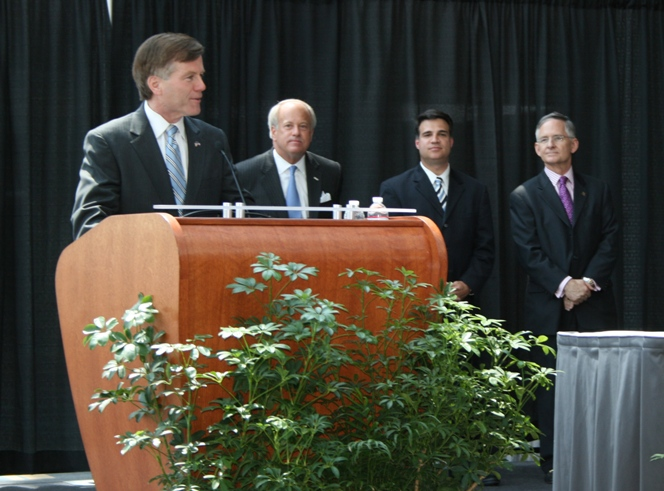 (from left) Governor Bob McDonnell, Virginia Beach Mayor Will Sessoms, Delegate Sal Iaquinto and Senator Thomas Norment