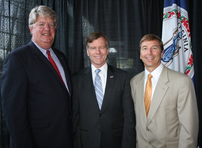 (from left) Shep Miller (KITCO Fiber Optics), Chair, Hampton Roads Business Political Action Committee; Governor Bob McDonnell; and Linwood Branch (Days Inn at the Beach), Chamber's Virginia Beach Chair