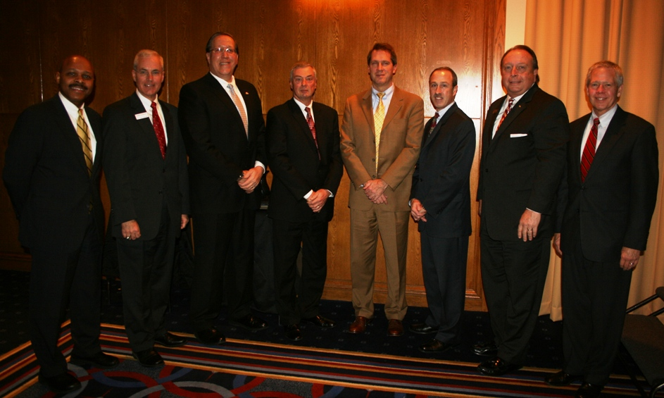 (from left) Maurice Jones, Chamber Chair; Charles Henderson, President of the Hampton Roads Market, Bank of America; James Dahling, CHKD; James Lind, EVMS; Michael Gentry, Sentara; Kenn Penn, ChamberSolutions; Thomas Prevette, Bon Secours; and Wynn Dixon, Chesapeake Regional Medical Center