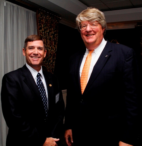 (from left) Delegate John Cosgrove and Shep Miller, Chair, HRBizPAC.  Photo courtesy of Miwa Design and Graphics