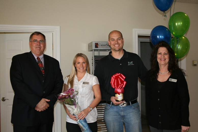 (from left) Jim Carroll from the Chamber, Shannon Maskell, Kevin Riley, and Maureen Paris from B&T Kitchens & Baths