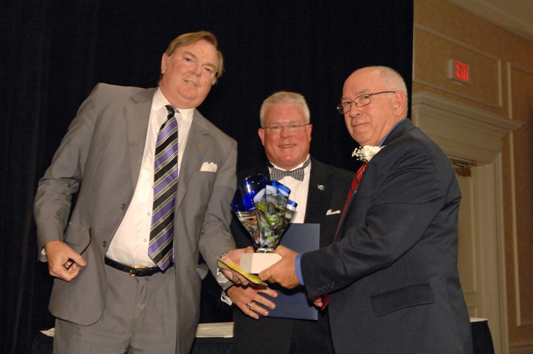 (from left) John Padgett of McGuire Woods, Mike Braham of Cox Business, and Chuck Harris.  Photo courtesy of Kevin Schindler.