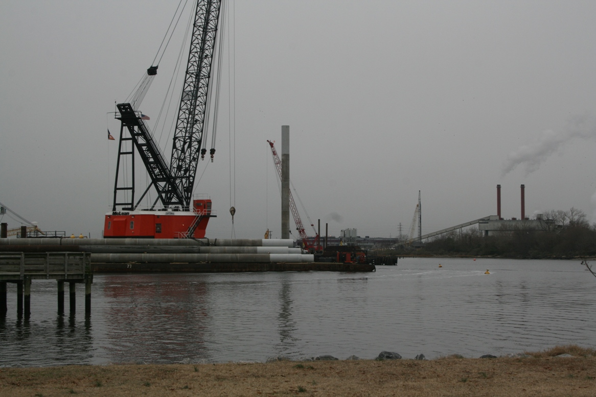 pile driving began on the new South Norfolk Jordan Bridge