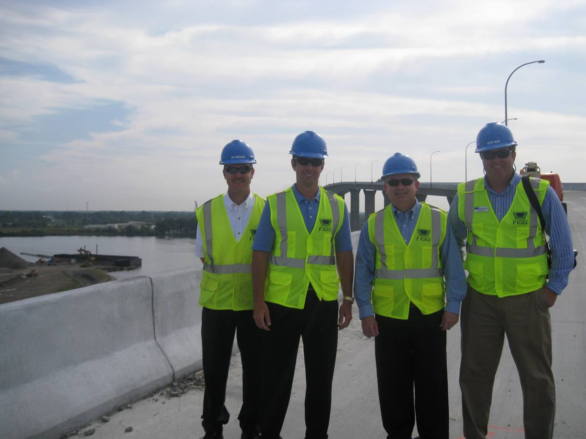 (from left) Jay Rohleder, Engineering Director; Patrick Reynolds, Chair of the Chamber's Chesapeake Division; Dean McClain, Chamber's Municipal Affairs Director; and Kevin Crum, General Manager of the South Norfolk Jordan Bridge