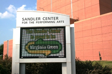 LED sign at the Sandler Center in Virginia Beach