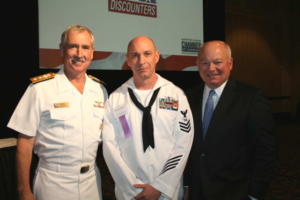 (from left) Rear Admiral Tim Alexander, Military Citizen of the Year Mass Communications Specialist 1st Class Eric Brown, and City of Norfolk Mayor Paul Fraim