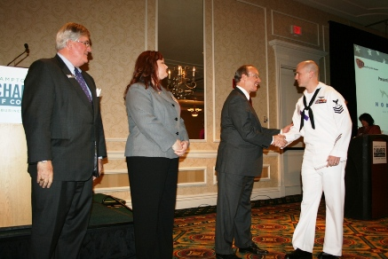 Each honoree received an award and was greeted by (from left) Jack Hornbeck, CCE, President & CEO, Hampton Roads Chamber of Commerce; J.C. Kreidel, Chair of the Armed Forces Committee, Hampton Roads Chamber of Commerce; and the Honorable Alan P. Krasnoff, Mayor, City of Chesapeake