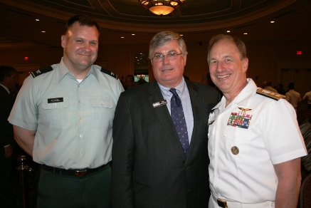 (from left) Keynote speaker Col. John Fenzel, United States Army; Jack Hornbeck, CCE, President & CEO, Hampton Roads Chamber of Commerce; and Rear Admiral Mark S. Boensel, Navy Region Mid-Atlantic