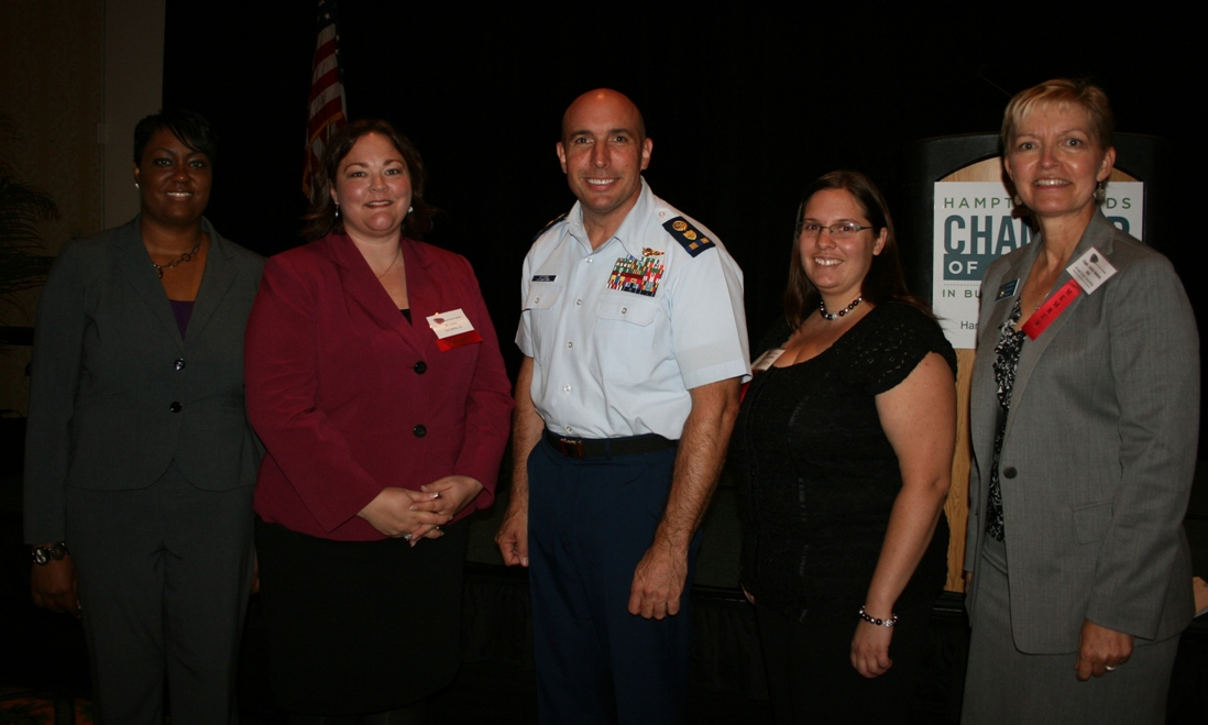 (from left) Candace Reid, Chamber's Municipal Affairs Director; JC Kreidel (Vox Optima),Chair, Chamber's Armed Forces Committee; CWO (ret) Mario Vittone; Rachel Richmond, Chamber's Armed Forces Committee; Capt. Kathy Nelson (ret), Chamber's Armed Forces Committee