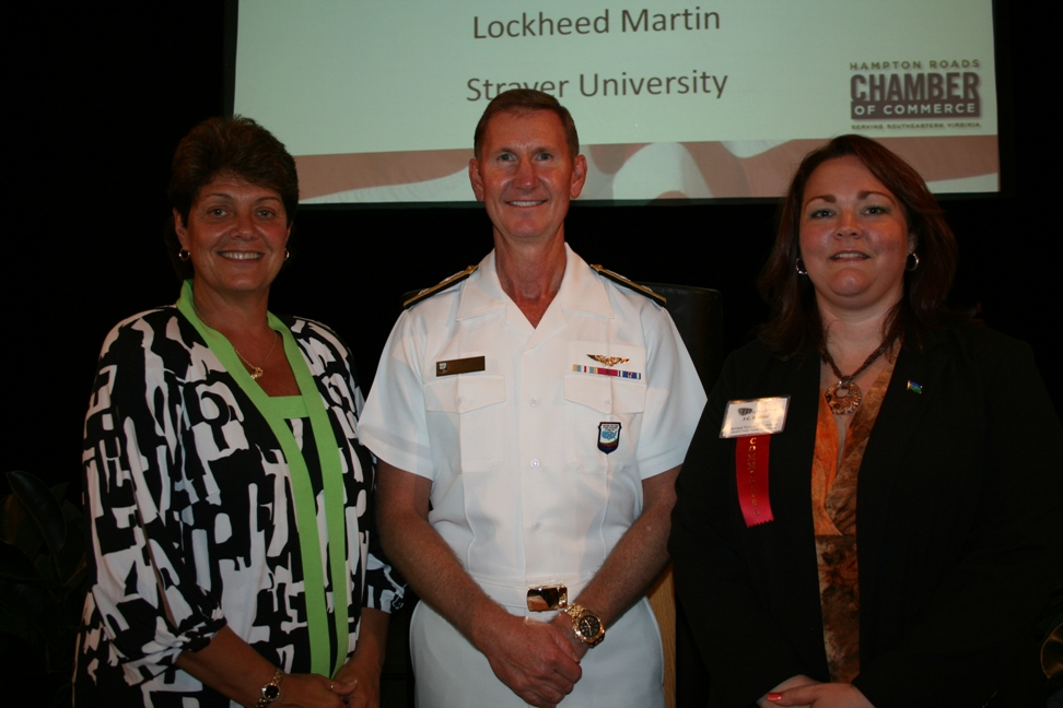 (from left) Wendy Larry, RDML Walter Carter, and J.C. Kreidel, Chair, Chamber's Armed Forces Committee